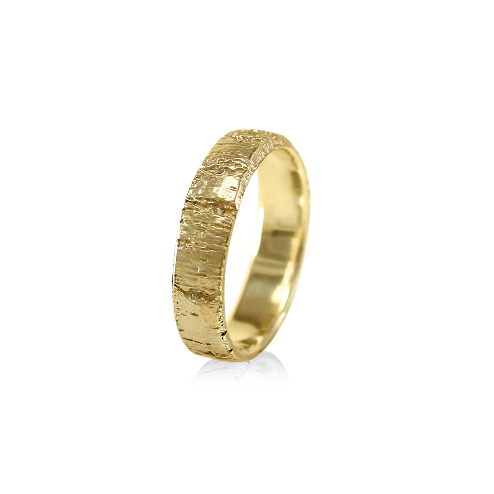 Aspen Tree Bark Band Ring 525 mm Men or Womens Wedding Band
