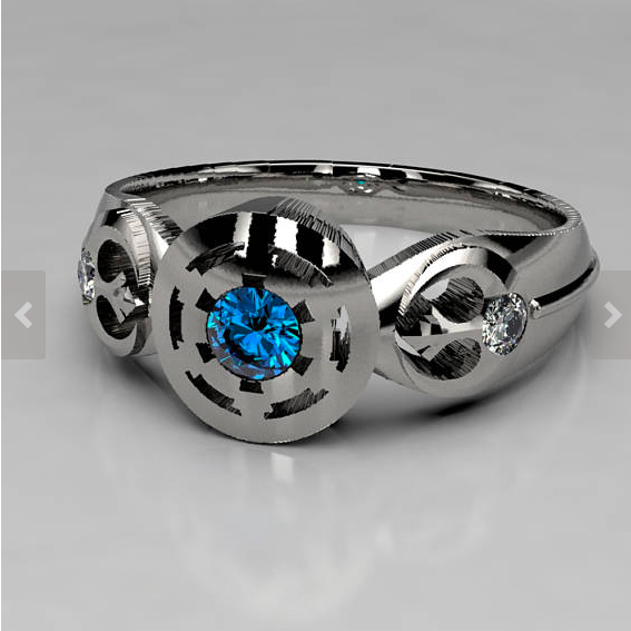 Star Wars Empire Engagement Ring in Silver, Palladium, or Gold, Sapphire & Moissanite Engagement Ring, Lightsaber Star Wars Wedding Ring 1.png