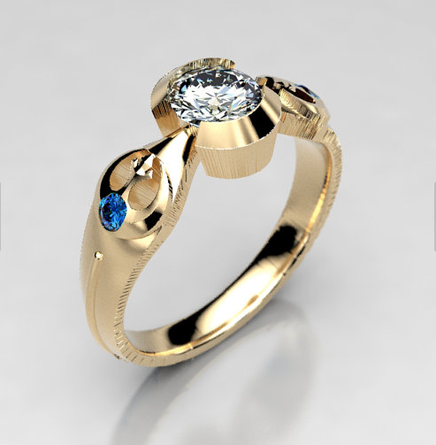 Star Wars Moissanite and Sapphire Engagement Ring