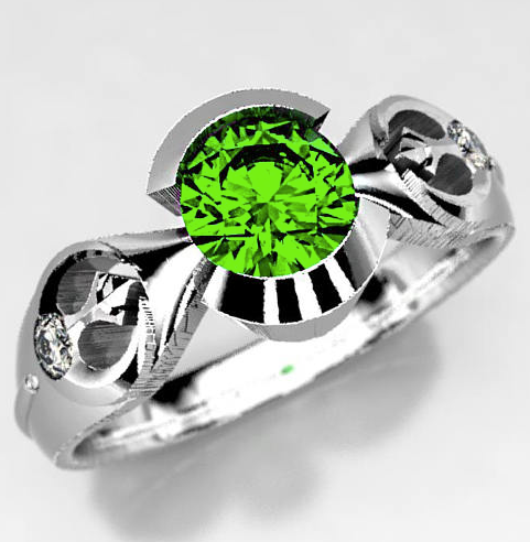Star Wars Rebel Alliance Emerald Engagement Ring in Silver, Palladium, or Gold, Geek Engagement Ring, Size 5 Ring, Star Wars Wedding Ring.png