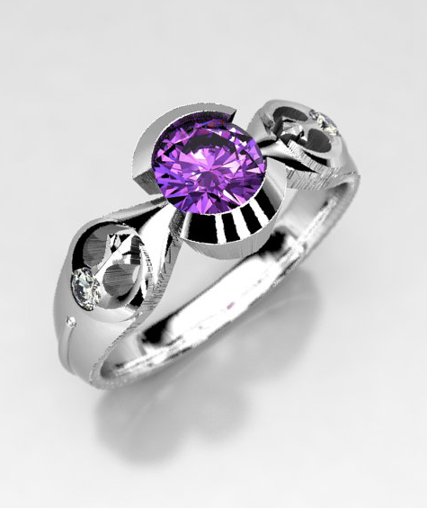 Star Wars Rebel Alliance Geek Engagement Ring in Silver, Palladium, or Gold, Amethyst Engagement Ring, Size 5 Ring, Star Wars Wedding Ring.png