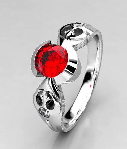 Rebel Star Wars Chatham Ruby Engagement Ring in Silver, Palladium & Gold, Ethical Engagement Ring Lightsaber Star Wars Wedding Ring.png