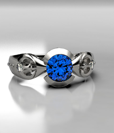 Rebel Star Wars Engagement Ring in Palladium or Gold, Chatham Lab Created Sapphire Ring, Lightsaber Star Wars Wedding Ring, Size 3 Ring.png