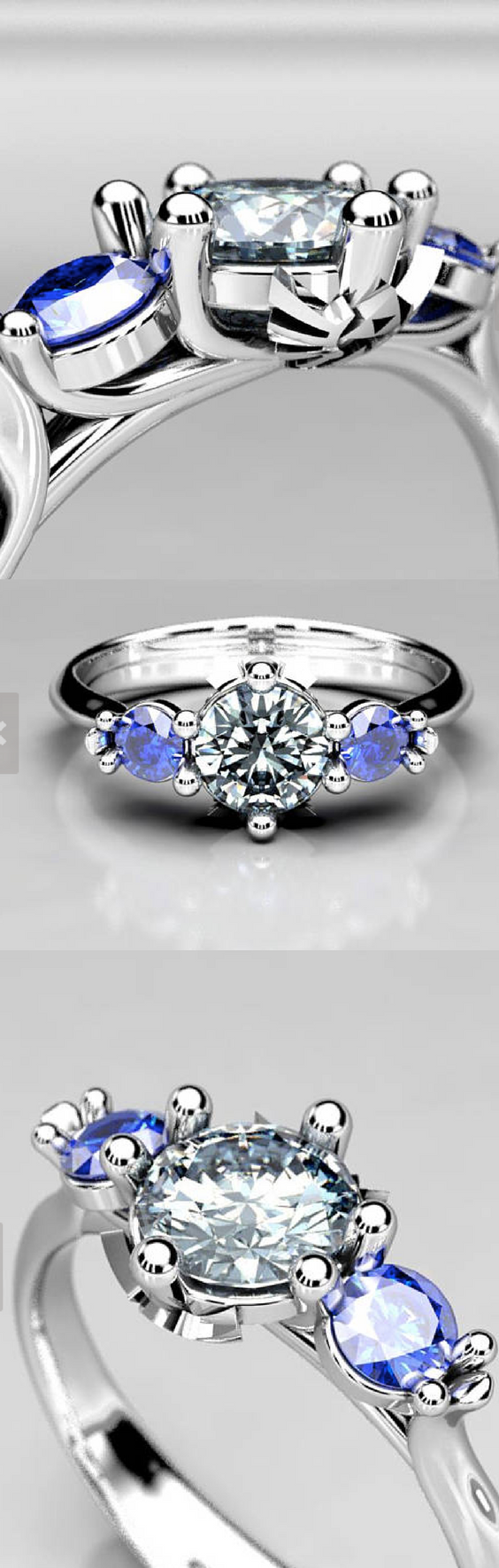 Zelda 3 Stone Forever One Moissanite and Chatham Sapphire Engagement Ring, Made in Gold or Palladium White Gold, Size 4.5 Geek Ring.png
