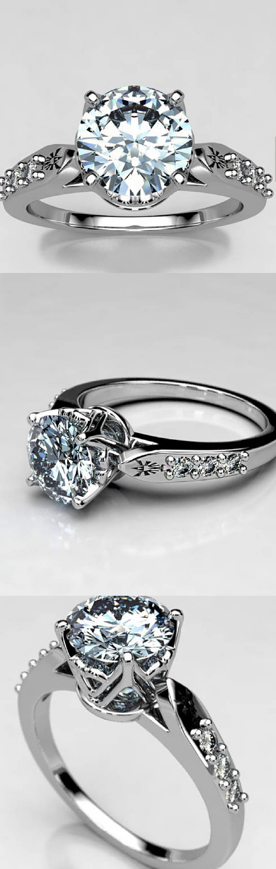 Featured Photo of Legend Of Zelda Inspired Engagement Ring With Moissanite Center Stone, and Small Accent Stones. One of our Best Seller Engagement Rings!