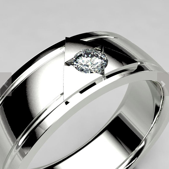 Legend of Zelda Inspired Wedding Band With 14k White Gold and Moissanite Center Stone.