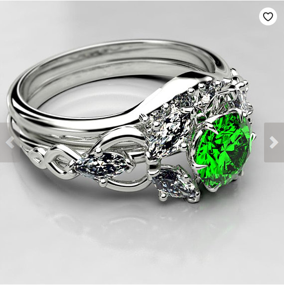 Elvish Fantasy Engagement Ring Featuring a Lab Emerald - Made to order in your size in 3-5 weeks.