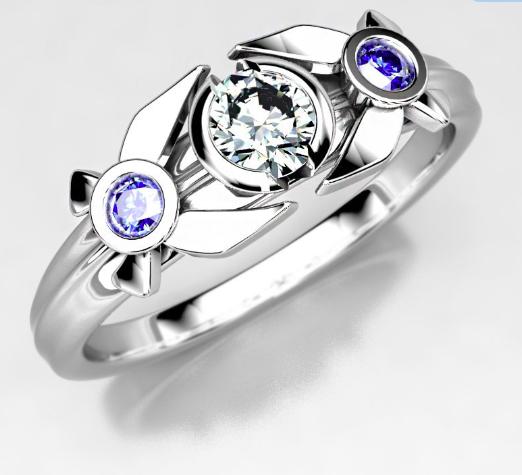 Legend of Zelda Inspired Engagement Ring - Moissanite & Sapphire Ring.png