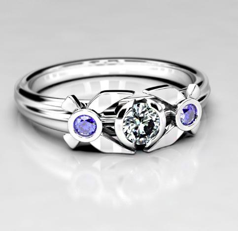 Legend of Zelda Inspired Engagement Ring - Navi W: Moissanite & Sapphire Stones.png