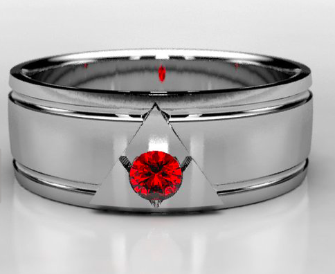 Wide White Gold Legend of Zelda Wedding Band With Ruby — Metal ...