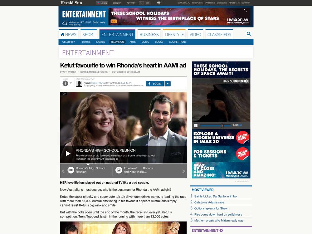 Ketut favourite to win Rhonda's heart in AAMI ad | Herald Sun (20131005) copy.jpg