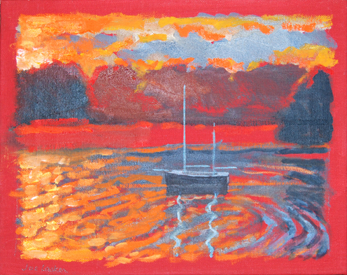 "Red Marinescape 11"" x 14"""