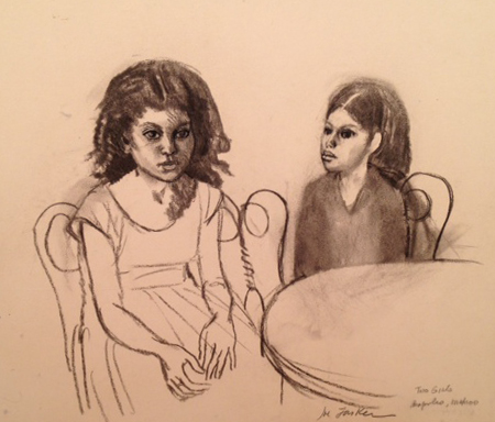 "Two Girls 15"" x 13"""