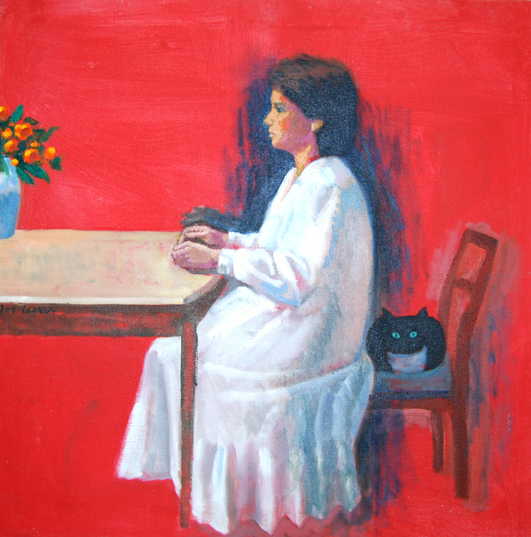 "Woman in White 26"" x 26"""
