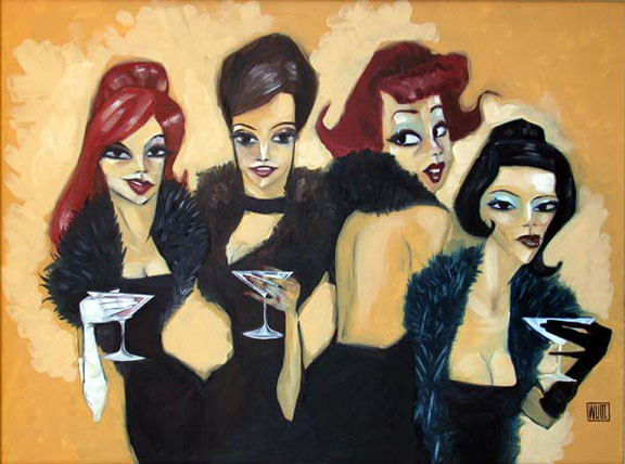 "The Drinking Boas 30""x40"""