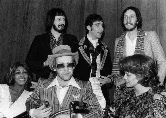 Tina Turner, Elton John, Ann Margaret, John Entwhisle, Keith Moon, and Pete Townsend, 1975