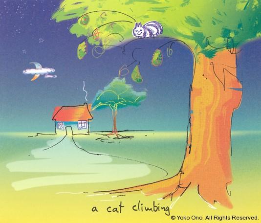 """A Cat Climbing 9.75"""" x 11.5"""""""