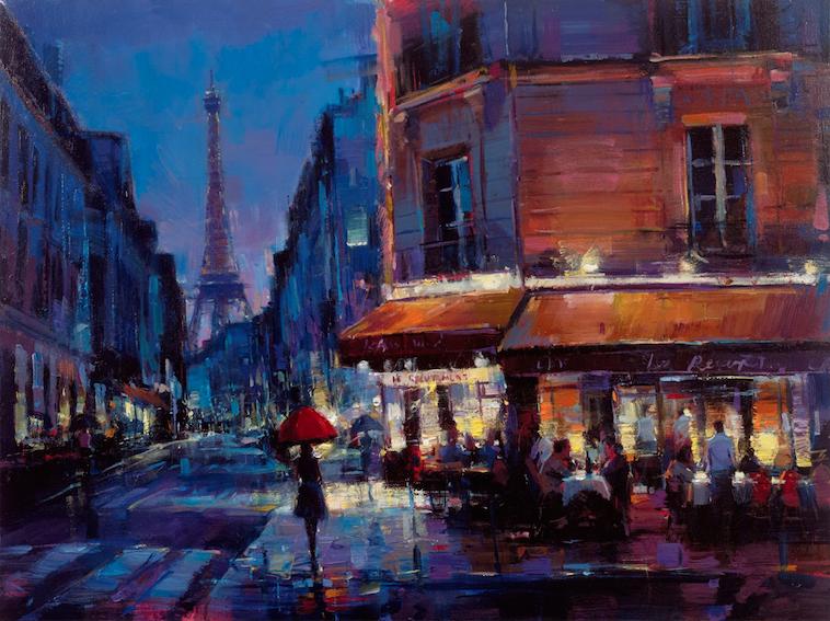 "Parisian Rain 36"" x 48"""