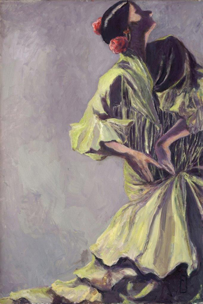 "Flamenco Dancer With Two Flowers 48"" x 30"""