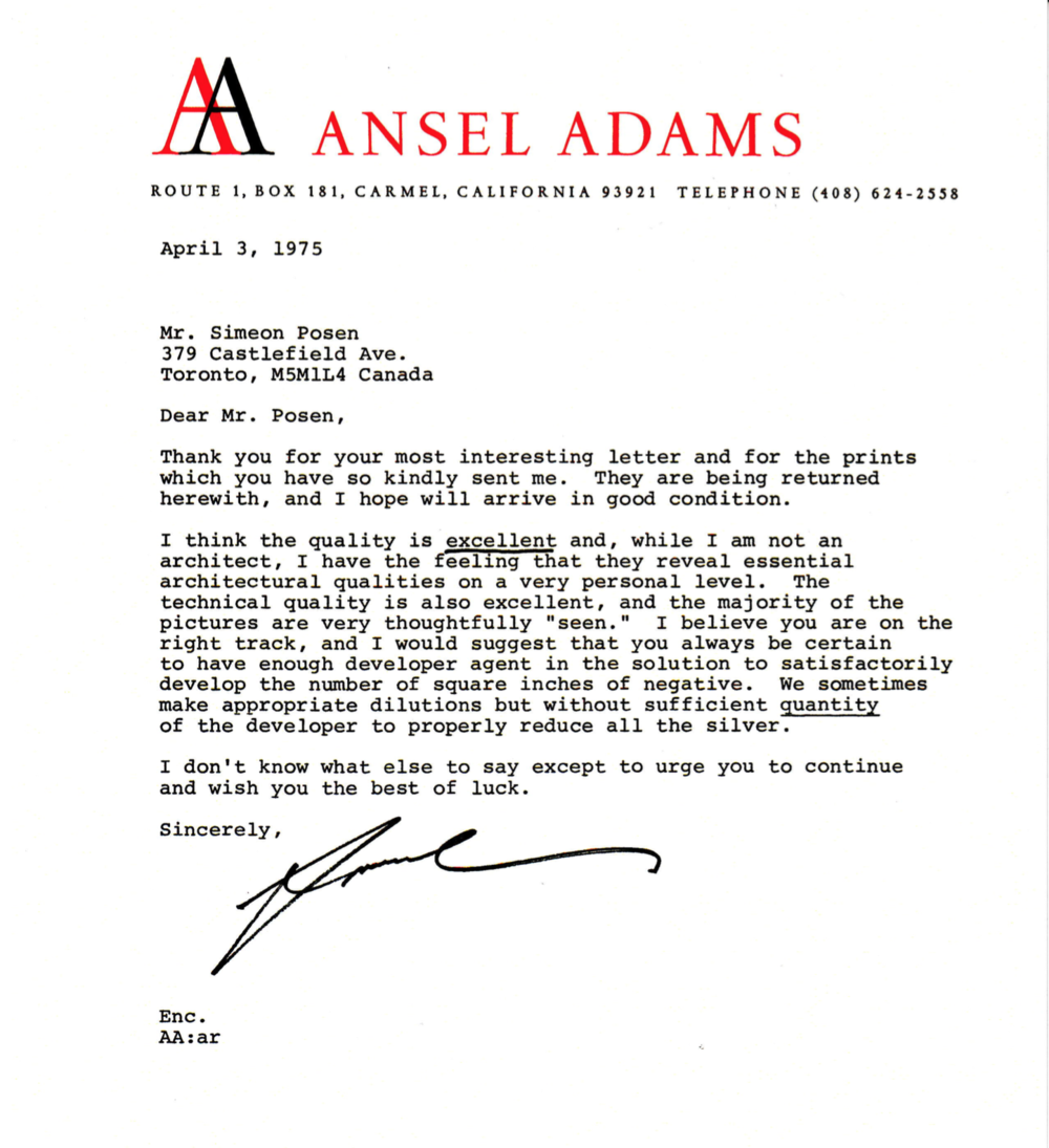 Ansel Adams Feedback Letter