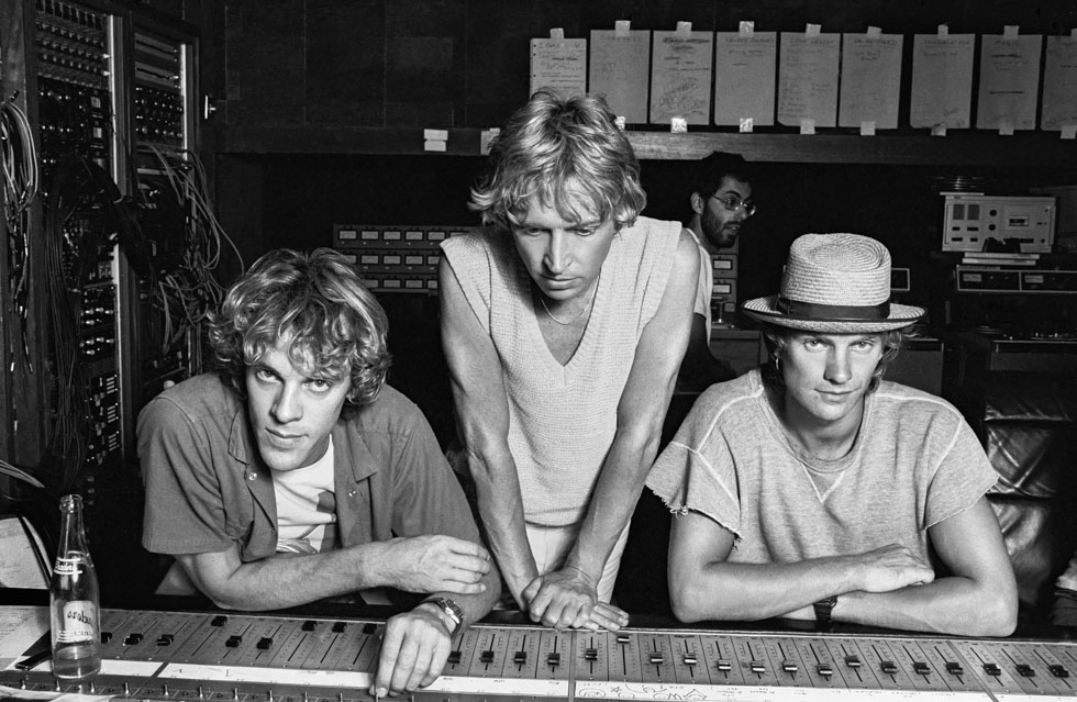 Police in Recording Studio at mixing board MONTSERRAT, 1981