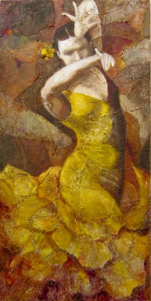 "Yellow Flamenco, 24"" x 48"""