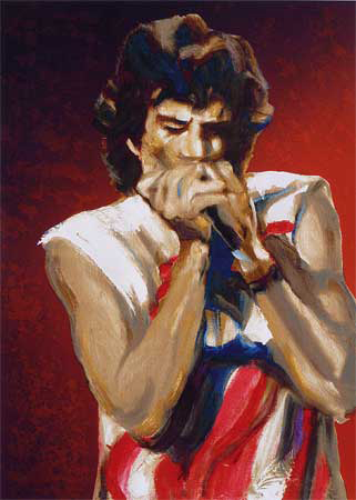 "Mick with Harmonica I (Ruby) 34.75"" x 25.75"""