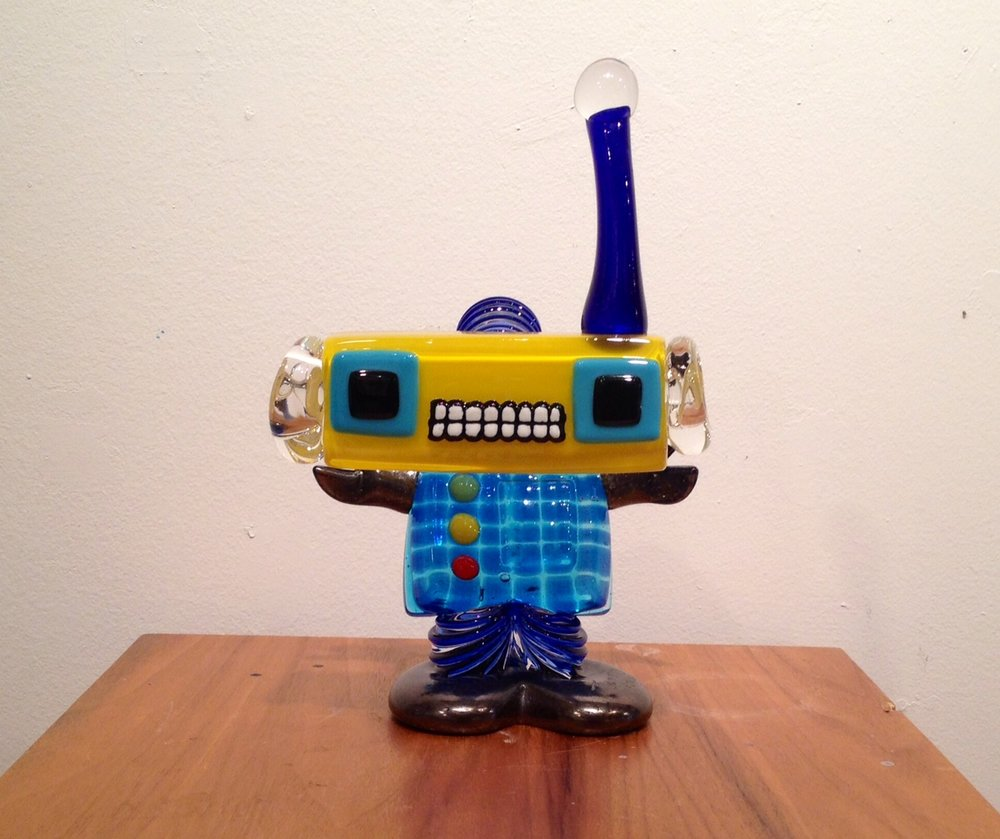 Blue & Yellow Robot with Stretched Neck