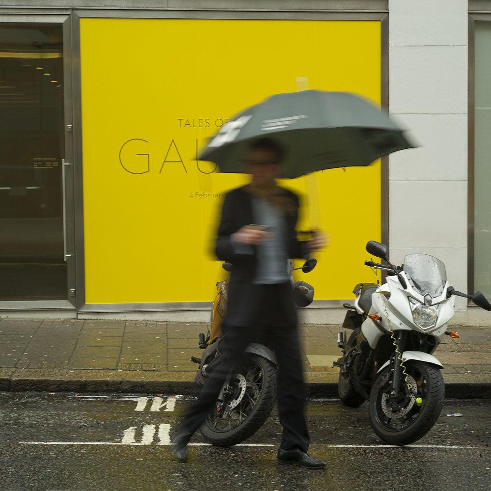 Umbrella on Yellow Background in London