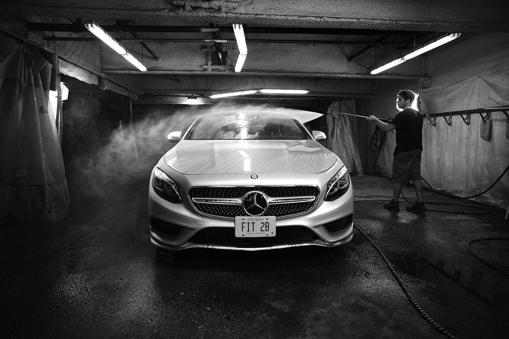 Mercedes Being Sprayed- Front View