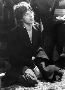 Mick Jagger kneeling at the Record Plant, NYC. 1972