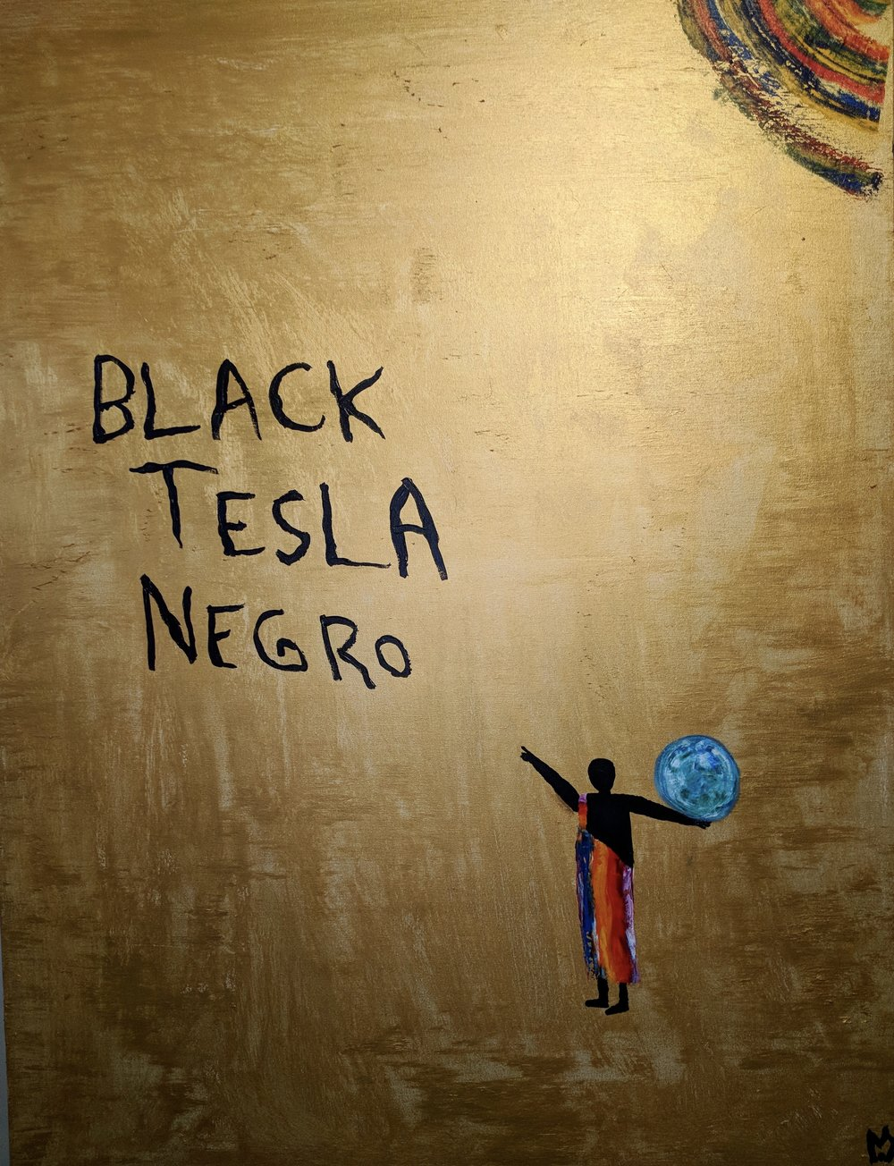"Black Tesla 36""x48"""