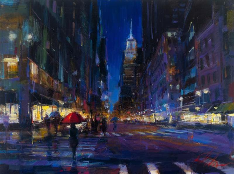 "New York City Rain 30"" x 40"""