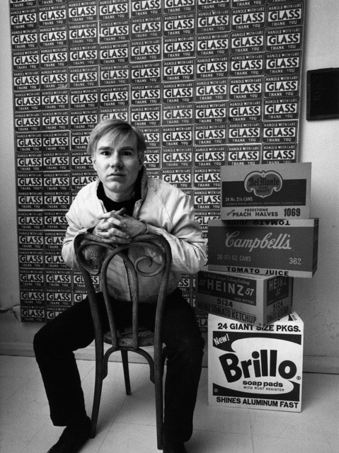Andy Warhol with Boxes, 1964