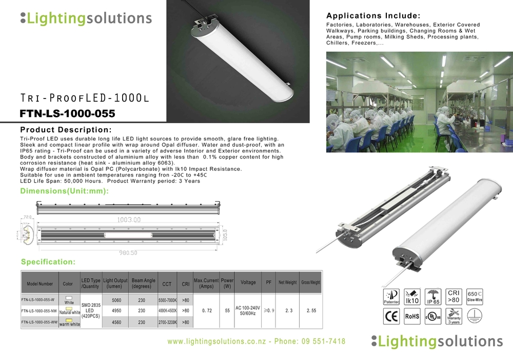 TriProof LED 1000 Industrial and Adverse Environ Lighting