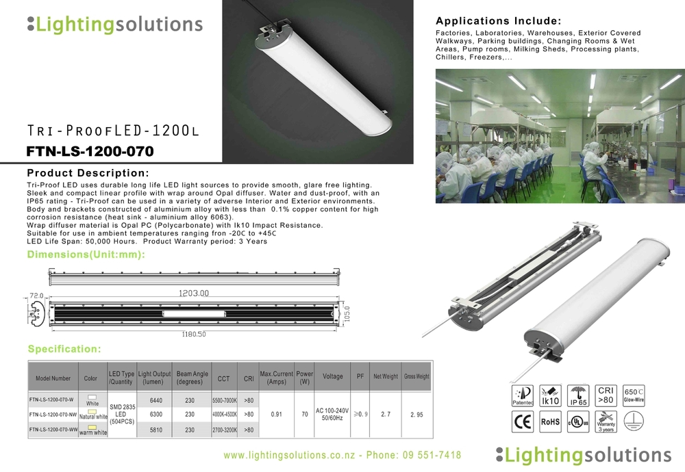 TriProof LED 1200 Industrial and Adverse Environ Lighting