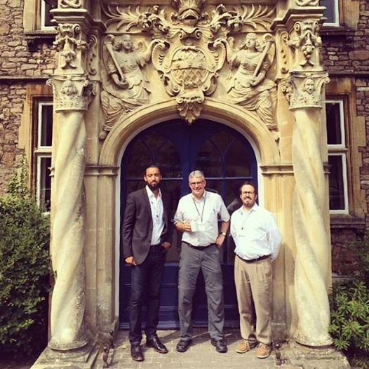 w. fellow student Jesse Richards and our supervisor Prof. Craig A. Evans in front of Trinity College Bristol (this building was built in 1669).