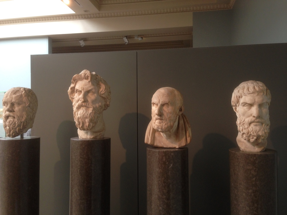 the busts of Socrates, Antisthenes, Chrysippos, Epikouros
