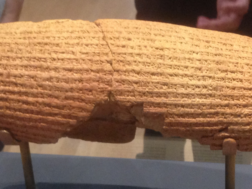model of the Cyrus cylinder from Babylon, 6th c. BCE (the real one is no longer in England)