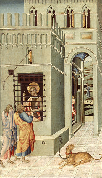 Giovanni di Paolo, Saint John the Baptist in Prison Visited by Two Disciples (Source: WIkimedia Commons)