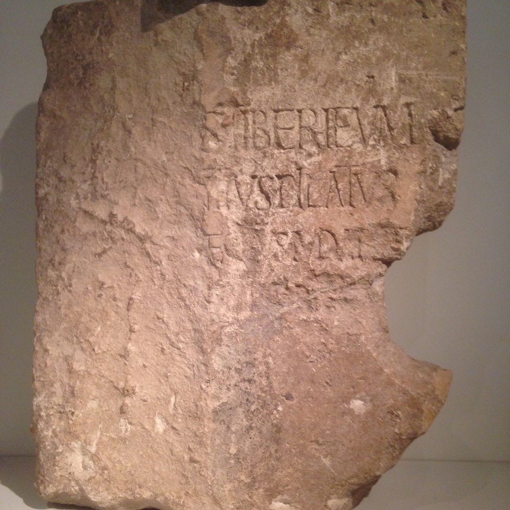 A Latin dedicatory inscription on hard limestone found in Caesarea, dated from 26-36, mentioning Pontius Pilate the prefect of Judea.