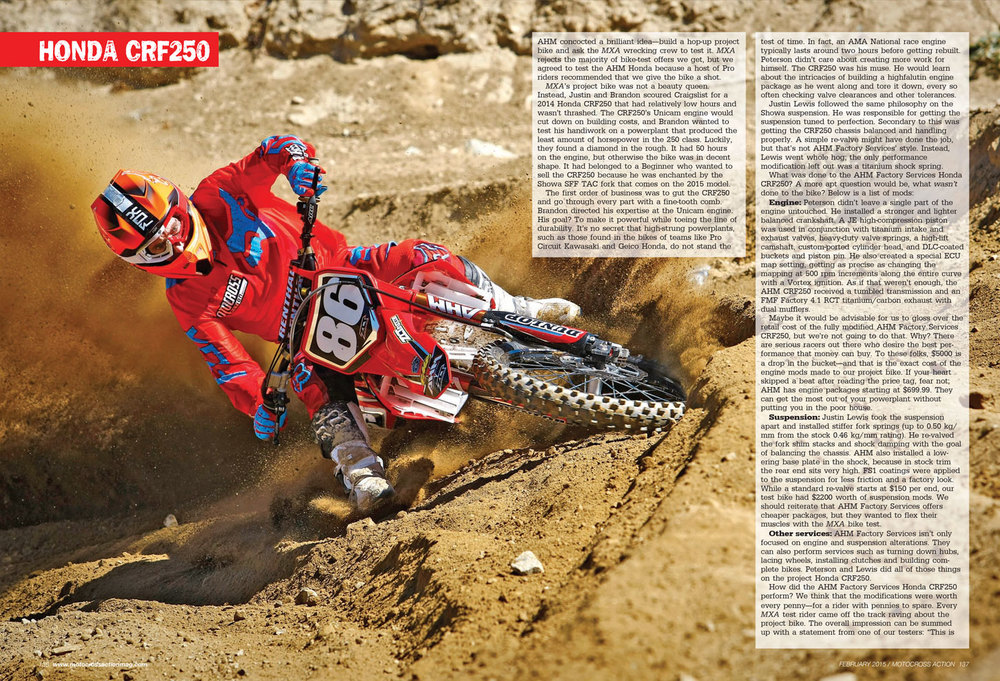 Motocross Action, Feb. 2015, pages 136-137