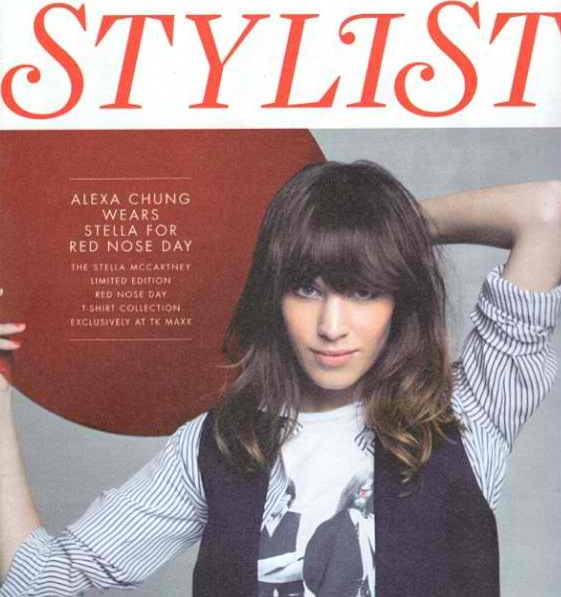 Alexa Chung- Cover of STYLIST   Look- Stella McCartney for Comic Relief