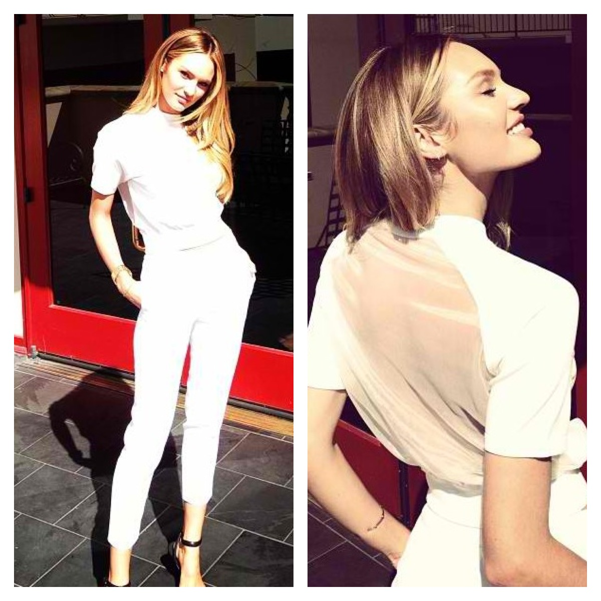 Candice Swanepoel   Press Day   Top and Shoes- Alexander Wang   Pants- Sandro