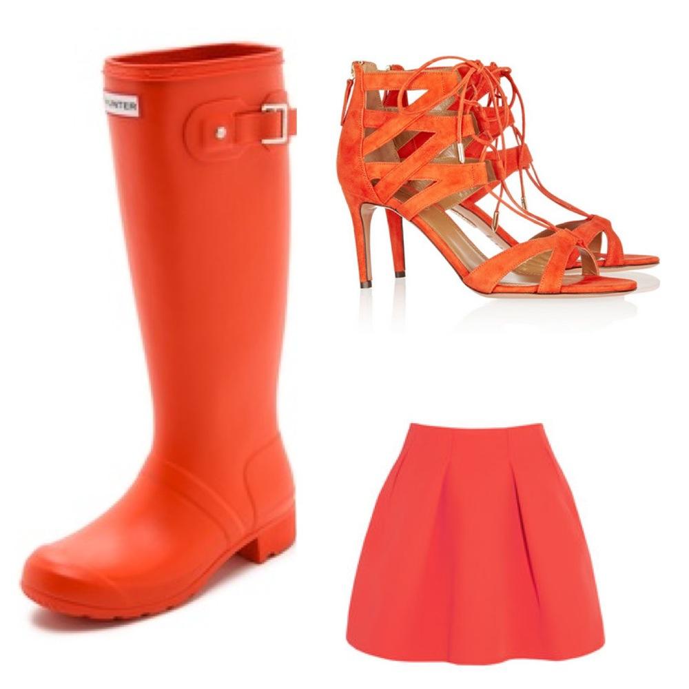 Hunter Rain Boots, Altuzarra heels, Kenzo Skirt.