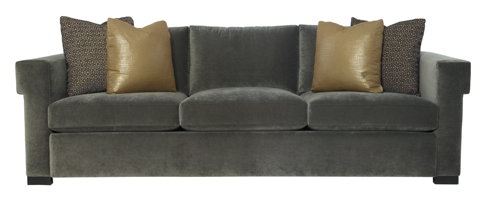 sofa in grey - pillows in blue velvet
