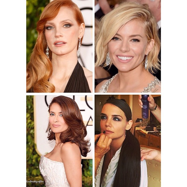 ✨Some of our favorite beauties from the #GoldenGlobes #RedCarpet feature #JessicaChastain #SiennaMiller #SelmaHayek and #KatieHolmes. Who were your faves at the Golden Globes this year? ✨