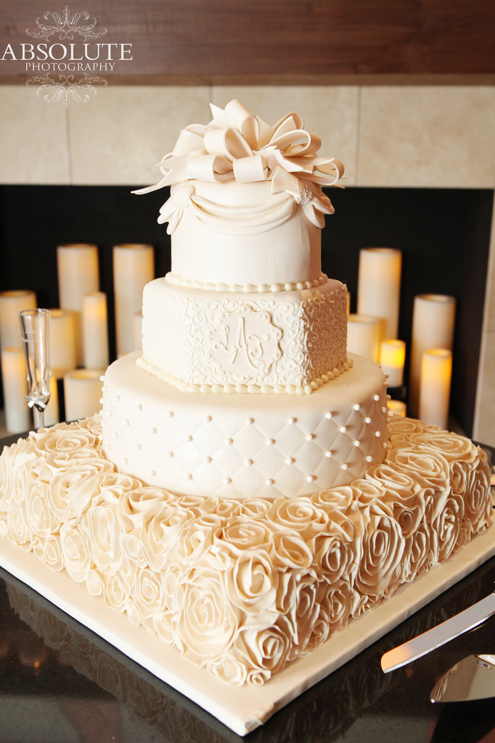 Frosted Art Square Round Hexagonal Wedding Cake
