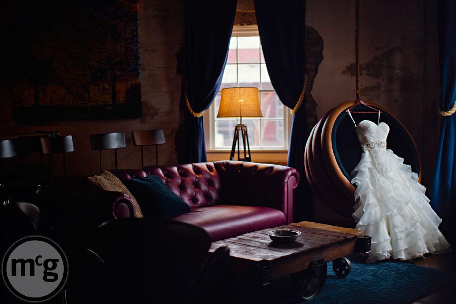 Wedding Dress in NYLO Dallas Hotel Room