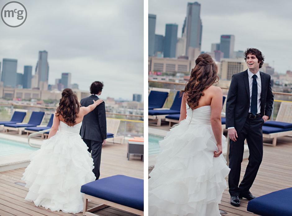 Bride & Groom Wedding First Look Dallas Skyline